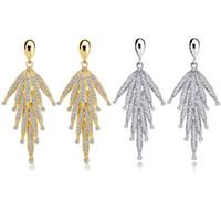 ingrosso orecchino d'argento del rhinestone d'argento-Zhefanku coreano tendenza orecchini lunghi strass per le donne grande nappa ciondola goccia orecchino gioielli in oro colore argento