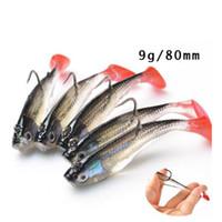 ojos de pesca suave señuelo al por mayor-10 unids 3D Eyes Soft Lead Lure Fishing Lure con T Tail Soft Fishing Lure ganchos individuales cebo artificial Jig Wobblers goma 80mm 9g