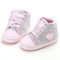 ingrosso scarpe da prua dentellare-Neonate Scarpe Infant Newborn Baby Lovely Pink Sneakers in cotone Ragazze Toddler Crib Lace-up suola morbida Riband Shoes