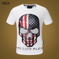 bande la plus chaude achat en gros de-T-shirt à manches courtes 2018 Skull Caution Strip Hot Men Fashion Phillip Plain Trim Trim