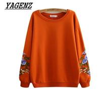 Wholesale Korea Women Clothes - Large-size 2018 New Spring Women's Pullover Sweatshirts Korea Loose O neck Embroidery Long sleeve Sweatshirts Casual Clothing