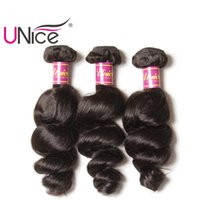 Wholesale Indian Remy Curls - UNice Hair Wholesale Virgin Brazilian 3 Bundles Loose Wave Human Hair Extensions Peruvian Indian Malaysian Hair Weaves Nice Curl Bulk Price