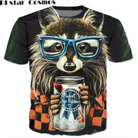 Wholesale raccoon animal for sale - PLstar Cosmos Raccoon T shirt d animal print cute raccoon wear glasses t shirt vibrant tshirt women men summer t shirt tops