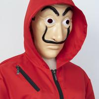 fantasias super elásticas venda por atacado-Mens Halloween Costume La Casa De Papel Cosplay Clothes Funny Free Size Masks One Set Free Shipping