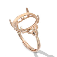 joyas de oro semi montaje al por mayor-Ajuste del anillo de montaje semi para piedra ovalada oro blanco o oro rosa plateado sólido plata de ley 925 joyería de las mujeres trenza regalos de dama de honor