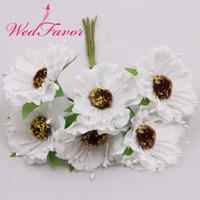 fleurs en tissu fait main en soie achat en gros de-Fait à la main Wedfavor 60pcs 4.5cm Tissu En Soie Rose Bouquet Artificielle Pavot Fleurs De Cerisier De Mariage Fleurs Pour Guirlande Cheveux Décoration