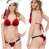 yılbaşı şapka oğlan toptan satış-Noel Babydoll İç Seti pijamalar Seksi Sütyen İç Suit Bow Patchwork Kadınlar G-String Sütyen Seti Peluş Şapka