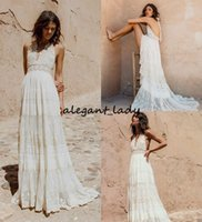 Wholesale wedding dress colorful flowers skirt for sale - Vintage Bohemian Lace Wedding Dresses Retro Halter V neck Backless Free People Hippie Country Flowy Skirt Bridal Wedding Gown