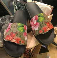 Wholesale pink kitten heels - New Fashion slide sandals slippers for men and women WITH BOX Luxury Designer flower printed unisex beach flip flops slipper BEST QUALITY