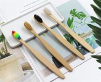 bambu tutamaklı fırçalar toptan satış-Ahşap Gökkuşağı Diş Fırçası Bambu Çevre Diş Fırçası Bambu Elyaf Ahşap Saplı Diş fırçası Beyazlatma Gökkuşağı X112