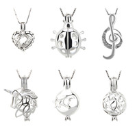 Wholesale Mix Different Design Sterling Silver Cage Pendants Best Mom Ladybug Note Unicorn Moon Star