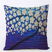 Wholesale cherry pillows resale online - 45x45CM Cushion Cover Vintage Flower Pillow Case Mural Yellow Red Tree Wintersweet Cherry Blossom Home Decorative Throw Pillow Cover