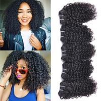 afro kinky remy saç toptan satış-Kinky Kıvırcık İnsan Saç Dokuma 5 Demetleri Malezya 100 Işlenmemiş Bakire Manikür Hizalanmış Saç Remy Saç Afro Kıvırmak Demetleri
