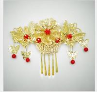 chinese headwear groihandel-2019 Bridal Kopfbedeckungen, rotes Kostüm, Quaste, Haarkamm, chinesische Brautkleid, Kleid, cheongsam Zubehör