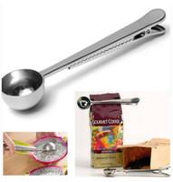 ferramentas de moagem de metais venda por atacado-Cozinhar 1Cup Ferramenta De Aço Inoxidável Café Moído Colher Colher De Medição com Saco de Vedação Clipe Cozinha Bom Ajudante