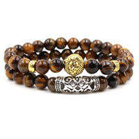 Wholesale buddha head charms resale online - Tiger Eye Stone Bracelet Set Buddha Head Charm Bracelet Natural Stone Bead Bracelet