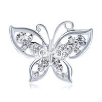 ingrosso farfalle di piombo-Spilla a farfalla opalina per donna Spilla con strass Moda Bigiotteria per gioielli in argento placcato senza piombo