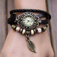 старинная кварцевая кожа оптовых-GEMIXI 2018 Новый 1 шт. женские браслет старинные ткать обернуть кварц кожаный лист бусины наручные часы reloj hombre