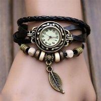 ingrosso orologio da orologio al quarzo-GEMIXI 2018 NEW 1PC Womens Bracciale Vintage Weave Wrap Quarzo Pelle Perline Foglia Orologi Da Polso reloj hombre