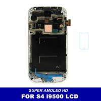 quadro de tela i545 venda por atacado-Para Samsung Galaxy S4 i9500 i9505 I545 I337 M919 L720 LCD digitalizador Displaiy Tela Assembléia azul ou branco com quadro frete grátis