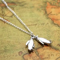 Wholesale jewelry penguin pendant - 12pcs lot Penguin necklace Charm pendant Winter Jewelry Penguin Lover silver tone