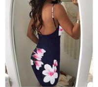 vestido de mariposa al por mayor-Buena calidad Bodycon Vestido de fiesta 2018 Mujeres Navy Backless Slip Vestidos de verano Con cuello en v flores sin mangas Casual Loose Mini vestido