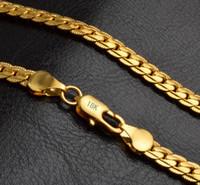 collar de compromiso para hombre al por mayor-Moda para hombre joyería para mujer 5 mm 18 k chapado en oro collar de cadena pulsera de lujo Miami Hip Hop cadenas collares regalos accesorios