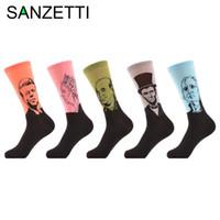 komik baskılı elbiseler toptan satış-5 Çift / grup Erkek Penye Pamuk Çorap Hayvan Baskı Ünlü Insanlar Başkan Komik Gündelik Elbise Mürettebat Çorap Abd 7-5-12
