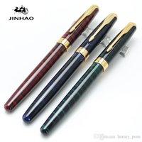ingrosso penne baoer-Promozione-Alta qualità Baoer 388 3 colori Ripple International Standard penna stilografica Oro Trim Arrow materiale scolastico Clip di forniture