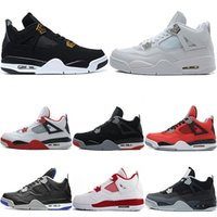 Wholesale military brown boots - 2018 Designer Mens 4 Basketball Shoes Trainers Sneaker Pure Money Royalty Black Cat White Cement Oreo Military Blue Fire Red Sports Sneakers