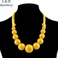 большие бисерные ожерелья оптовых-Rainbery 2018 Maxi Necklace Gradient Large Glazed Candied Acrylic Beaded &Cotton Rope Choker Statement Necklaces For Women