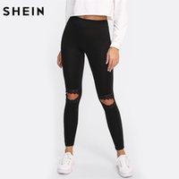 cortar leggings pretos venda por atacado-SHEIN Leggings Mulheres Fitness Knee Cut Out Malha Bordada Inserir Leggings Contraste Preto Rendas Treino