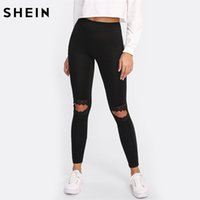 Wholesale cut out black leggings - SHEIN Leggings Women Fitness Knee Cut Out Embroidered Mesh Insert Leggings Black Contrast Lace Workout