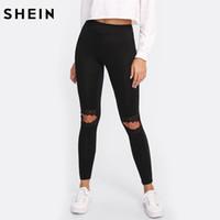 siyah tozlukları kes toptan satış-SHEIN Tayt Kadınlar Fitness Diz Cut Out Işlemeli Örgü Ekle Tayt Siyah Kontrast Dantel Egzersiz