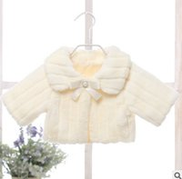 Wholesale Winter White Plush Coat - Girls faux fur cloaks children long sleeve lapel warmer plush princess shawl coat fashion new kids rhinestones pearl Bows poncho R1712
