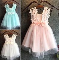 bebekler özel günlerinde elbiseler toptan satış-Yaz Güzel Bebek çiçek kız elbise Prenses Pageant Dantel Tül Küçük Kızlar Özel Durum Elbise