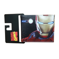 кожаный кошелек цена оптовых-Lovely Cartoon Anime Ironman Wallet carteira Marvel Comics Iron Man Purse Dollar Price Gift Kids Boy Girl Leather Short Wallets