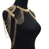 omuz gövde zinciri takı toptan satış-Yeni Sıcak Satış Lady Püsküller Bağlantı Demeti Zincir Kolye Takı Seksi Vücut Omuz Kolye Abartılı Kadın Moda Vücut Takı