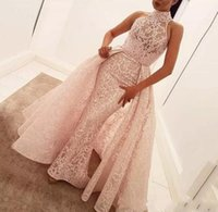Wholesale dark peach prom dress - 2018 New Peach African Dubai Arabic Long Mermaid Prom Dresses With Detachable Train Lace Applique Jewel Neck Formal Evening Party Wear