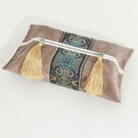 tecido de veludo patchwork venda por atacado-Elegante Chinês Patchwork Lace Tissue Box Cover Casa Veludo Tecido De Papel Guardanapo Set Borla Removível Facial tecido Caso