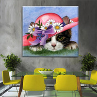 Wholesale panel hats diamond online - Creative D DIY Red Hat Little Cat Cartoon Style Embroidery Paintings Kits Gift And Crafts Full Diamond Painting Home Decor ly4 aa
