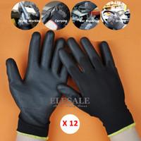 ingrosso la sicurezza dei conducenti-12 paia nuovo lavoro guanti di sicurezza guanti in maglia di nylon con rivestimento in poliuretano per guanti per giardiniere costruttore guanti protettivi meccanico D18110705