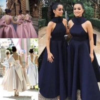 Wholesale customized high neck evening dresses resale online - Stylish High Neck Bridesmaid Dresses Backless Ruffles Cocktail Dresses Big Bow Prom Evening Gowns Tea Length Custom Made