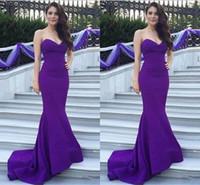 nueva venta de vestidos de fiesta al por mayor-Cuello en V Formal Satén Vestidos de noche Vestido de fiesta púrpura Sirena Moda Simple Venta caliente 2018 Nuevo por encargo US2-26W ++ Pliegues tren de barrido
