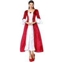 d55d9f6de0bf Donne Rosso Medievale Rinascimentale Costumi Retro Principessa Regina  Cosplay Abito lungo Elegante abito da ballo per Halloween Carnevale Party