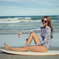 Wholesale rash guard ladies for sale - Group buy Long Sleeves Swimsuit Zipper Submersible Suit Woman Rash Guards One Piece Lady Swimwear Femme Bikini Triangle Conjoined mm V