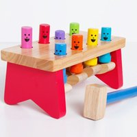 Wholesale knock wood toys for sale - Group buy Kids Toy Knocking Pounding Bench Excellent Quality Wood Preschool Brinquedos Juguets