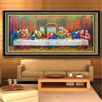 Wholesale oil painting cross stitch resale online - Cross Stitch D Diamond Painting Diy Embroidery Kits Full Drill Special Shaped Paintings Wall Stickers Art Decor Last Supper Theme ym3 jj