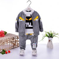 Wholesale little boys clothing for sale - Group buy 2018 Children Fashion Little monster boy Three piece Clothing Sets