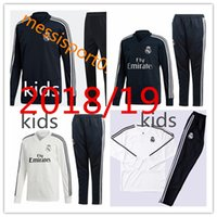 Wholesale kids white suits - kids Real Madrid Chándal de fútbol soccer tracksuit suit 2018 19 kids kits 18 19 KROOS youth kids training suit SPORTSWEAR